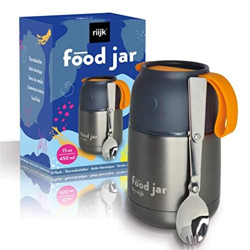 riijk Thermobehälter für Essen 450ml, Edelstahl Warmhaltebehälter Essen für Unterwegs, Arbeit, Schule und...