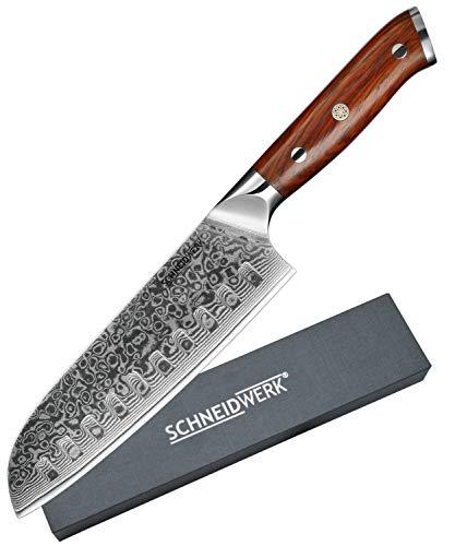 SCHNEIDWERK Santoku-Messer Damastmesser, Küchenmesser 17,6 cm Klingenlänge, 67 Lagen Edelstahl-Damast,...