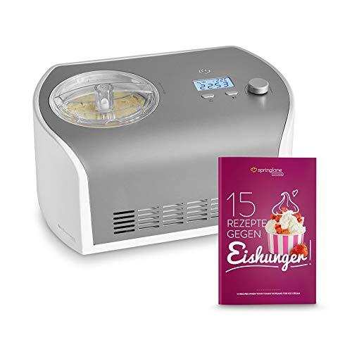 Eismaschine Elli 1,2 L mit selbstkühlendem Kompressor 135 Watt, aus Edelstahl mit entnehmbarem Eisbehälter,...