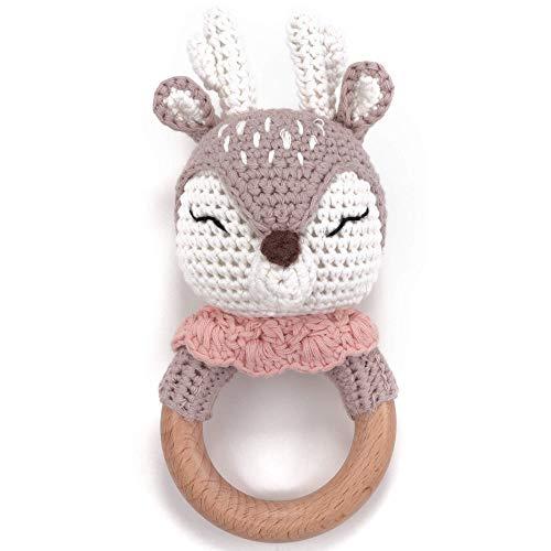 Beißring gehäkelte süße Reh mit integrierter Babyrassel, Greifling Spielzeug Beißring   Geschenk zur...