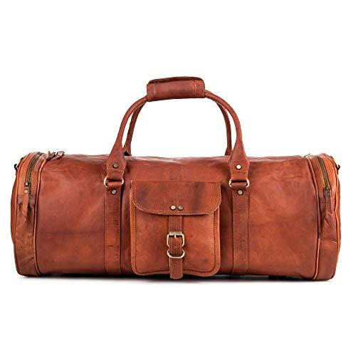 Berliner Bags Reisetasche Texas XXL aus Leder Weekender Vintage Design Braun Groß 45l