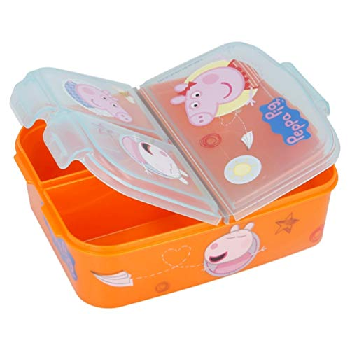 Peppa Wutz Pig George Premium Lunchbox Brotdose Frühstücks-Box Vesper-Dose mit 3 Fächern (Brotdose)