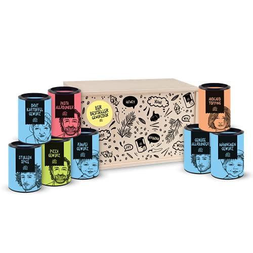 Just Spices Top 8 Gewürze Set I Geschenkset in schöner Holzbox I 8 unserer beliebtesten Gewürze in einer...