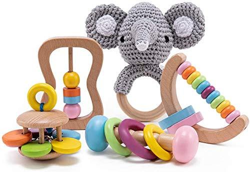 Holz Montessori Baby sensorische Rassel Lernspielzeug Vorschule Baby greifen Spielzeug-Kindergarten erstes...