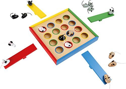 small foot 7959 Geschicklichkeitsspiel 'Hüpfmäuse' aus Holz, Gesellschaftsspiel für 1 bis 4 Spieler, ab 3...