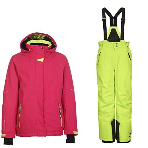 Killtec Skianzug Kinder Mädchen zweiteilig Wasserdicht und Winddicht Pink-Lime, Kinder Größen:140