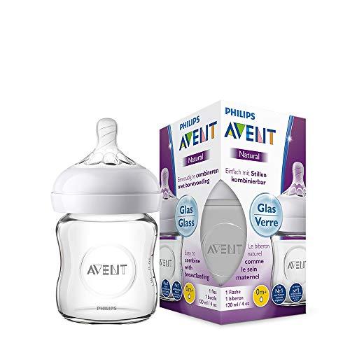 Philips Avent Natural Flasche SCF051/17, 120 ml, naturnahes Trinkverhalten, Anti-Kolik-System, aus Glas, 1er...