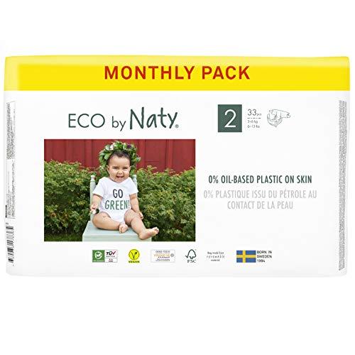 Eco by Naty, Größe 2, 132 Windeln, 3–6kg, MONATSVORRAT, pflanzliche Premium-Bio‑Windeln mit 0% Plastik...