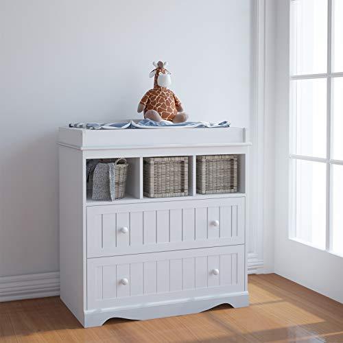 Wickelkommode - inkl. 2 großen Schubladen und 3 Fächer, LxBxH 93,5x50x88 cm, Weiß - Wickelschrank,...