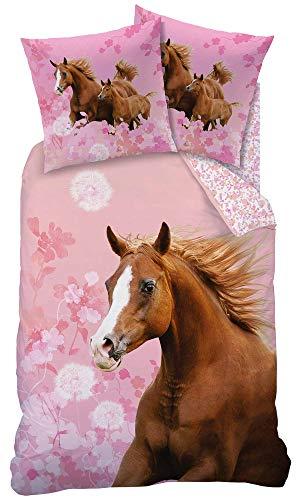 Matt&Rose Pferde-Bettwäsche 135x200 Mädchen 80x80 cm 100% Baumwolle Biber/Flanell Kinder Bettwäsche Set...