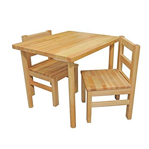 Bubema Kindersitzgruppe massiv, Tisch, Stuhl oder auch als Set in 2 Farben Farbe Natur, Größe Tisch + Zwei...