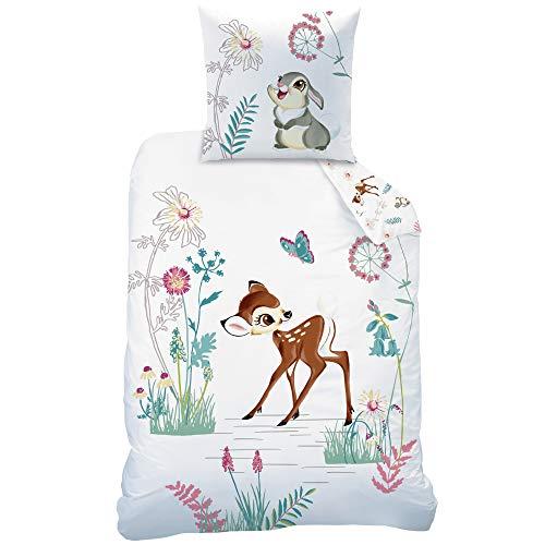 Disney Bambi Kinder-Bettwäsche Set · Mädchenbettwäsche · Bambi & Klopfer · 1 Kissenbezug 80x80 + 1...