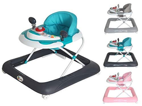 Clamaro 'BABYRACER' Baby Gehfrei (hellblau) - Höhenverstellbare Lauflernhilfe mit extra hoher Rückenlehne...