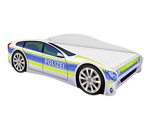 ACMA Kinderbett Auto-Bett Polizei mit Rausfallschutz, Lattenrost und Matratze (Polizei 1, 140x70 cm)