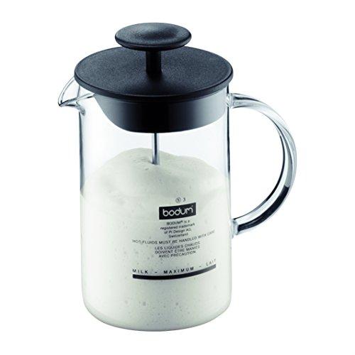 Bodum 1446-01 Milchschäumer mit Glasgriff Latteo, schwarz