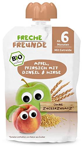 FRECHE FREUNDE Bio Beikost Quetschie Apfel, Pfirsich mit Dinkel & Hirse, Fruchtmus mit Getreide im...