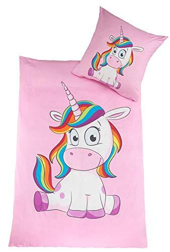 Kuscheli® Kinderbettwäsche Mädchen Einhorn Bettwäsche Set Unicorn Pony passend für Kinder Bettdecken...