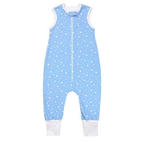 TupTam Unisex Babyschlafsack mit Beinen Unwattiert, Farbe: Sterne Weiß/Blau, Größe: 104-110
