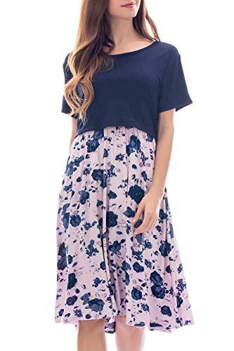 Smallshow Damen Umstandsmode Stillkleid Patchwork Umstandskleid Casual Kurzarm Schwangerschaft Umstands Kleid...