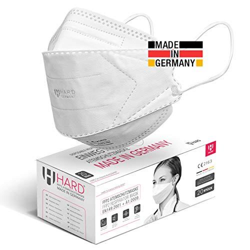 HARD 20 stück FFP2 Atemschutzmaske, Made in Germany EN 149:2001+A:2009 zertifizierte Masken, Antibakterielle...