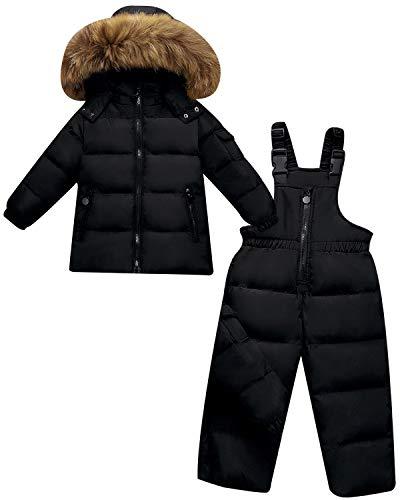 ZOEREA Kinder Bekleidungsset Junge Mädchen Süß Schneeanzug mit Kaputze Daunenjacke + Daunenhose 2tlg...