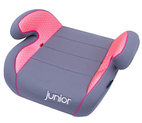 Petex Auto-Kindersitzerhöhung Max 104 ECE-Gruppe 2-3, Kinder von ca. 3,5-12 Jahre|15-36 kg, grau/rosa