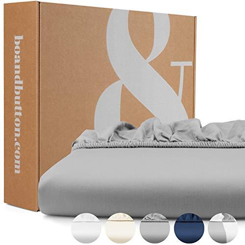 bo&button® Mako Satin Spannbettlaken, echte Luxusqualität, 90x200 cm, bis 30 cm Steghöhe, 100% feinste GOTS...