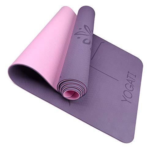 YOGATI Yogamatte rutschfest Schadstofffrei, mit Tragegurt. Yoga Matte mit Ausrichtungslinien für die...