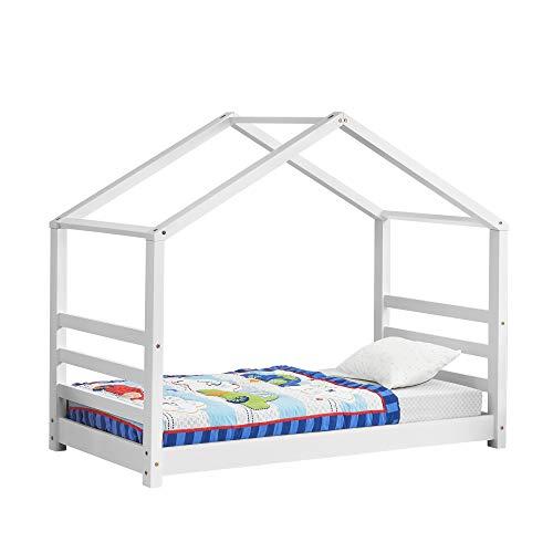 Kinderbett mit Lattenrost Hausbett Weiß 80 x 160 cm Bettenhaus Bett Jugendbett