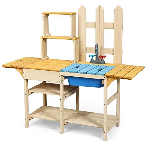 COSTWAY Matschküche mit Wasserhahn, Kinderküche aus Holz, Outdoor Küche, Holzküche, Spielküche,...