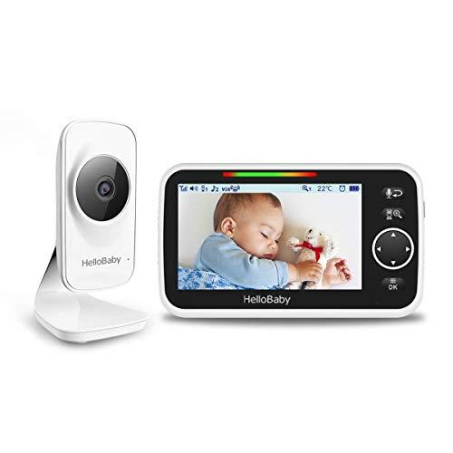 Video-Babyphone mit Kamera und Audio, 5'' LCD-Bildschirm, Infrarot-Nachtsicht, Temperatur, Schlaflied,...