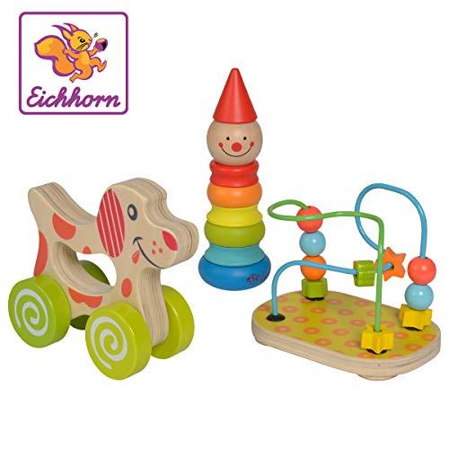 Eichhorn 100003750 Lernspielset bestehend aus Steckfigur Clown, Motorikschleife und Schiebehund, 3 teilig,...