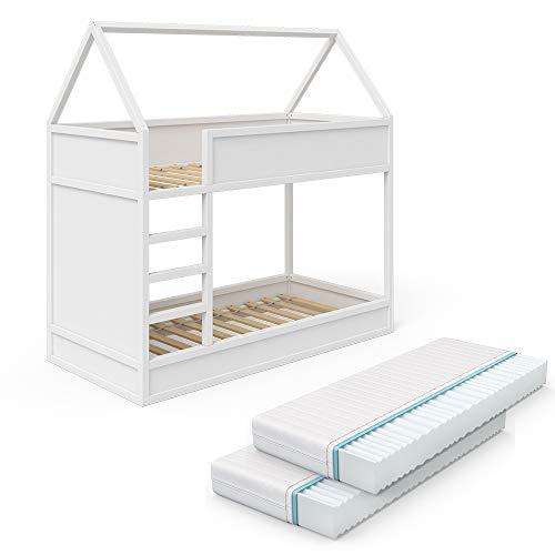 VitaliSpa Hochbett Massimo Kinderbett Etagenbett Doppelstockbett Holzbett Weiß + 2 Matratzen 90x200 cm