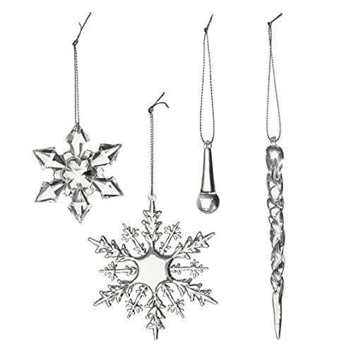 40 Acryl Eiszapfen Schneeflocke Eiskristalle Weihnachtsbaum Hängende Dekoration| Stabil & Wiederverwendbar|...