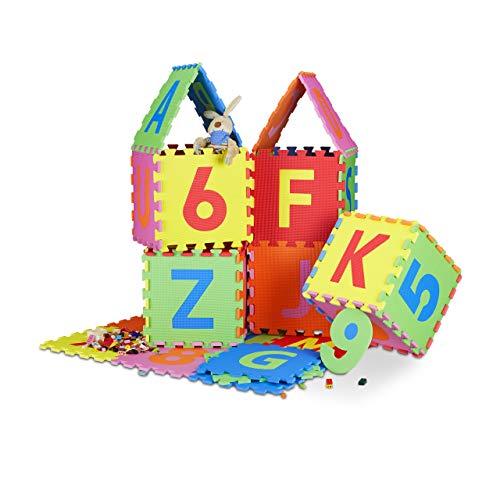 Relaxdays Spielmatte Puzzle 86 tlg, Puzzlematte Buchstaben u. Zahlen, EVA Schaumstoff Spielteppich BxT 180x180...
