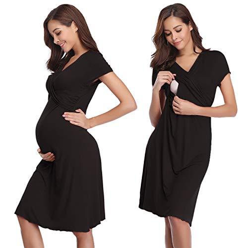 Hawiton Damen Stillkleid festliches umstandskleid Schlafanzug Lang Baumwolle Zweiteilige Nachtwäsche...