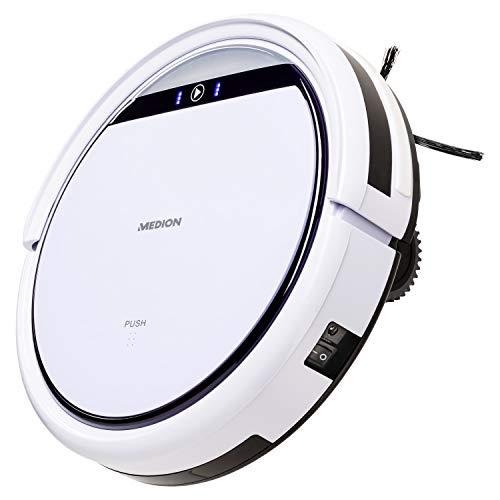 MEDION MD 18500 Saugroboter mit Ladestation (90 Min Laufzeit, Roboterstaubsauger für Hartböden, Teppiche,...