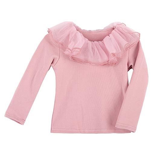 Baby Mädchen 100% Baumwolle Langarmshirt mit Rüschenkragen Puppenkragen T-Shirts Babymode Weich Niedlich -...