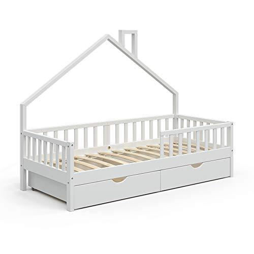 VitaliSpa Hausbett Kinderbett Spielbett Noemi 90x200cm Rausfallschutz (Weiß, Schubladen)
