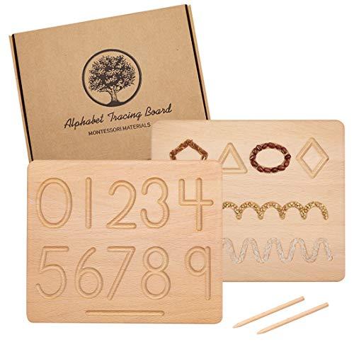 Montessori Tracing Board | Holz doppelseitige Groß- und Kleinbuchstaben | Entwicklung der Feinmotorik...