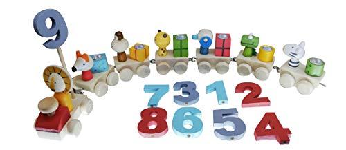 khevga Geburtstagszug: Deko Geburtstag Kinder Zoo-Tiere mit Holz-Zahlen