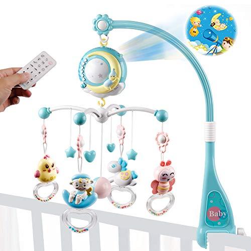 Mini Tudou Baby Crib Mobile Babybett mit Musik und Lichtern,Timing-Funktion,Projektion,Rassel zum Mitnehmen...