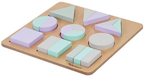 Kindsgut Holzpuzzle mit 18 Teilen, geometrisches Puzzle für Klein-Kinder, fördert die Feinmotorik und das...