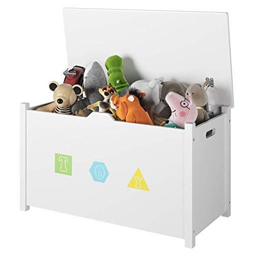 Homfa Spielzeugkiste Sitzbank Truhe mit Stauraum Sitztruhe Aufbewahrungstruhe Kindermöbel für Kinder,weiß...