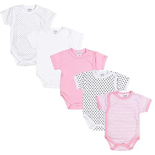TupTam Baby Mädchen Kurzarm Wickelbody Baumwolle 5er Set, Farbe: Farbenmix 5, Größe: 56