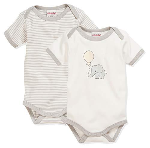Schnizler Unisex Baby Body Kurzarm,  2er Pack Elefant, 62 (Herstellergröße: 62/68)