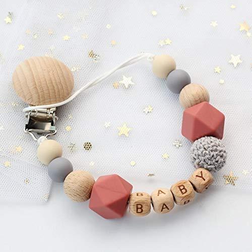 Schnullerkette jede Perle anpassbar mit Namen und Sternzeichen   aus Holz mit Personalisierung   Gehäkelt  ...