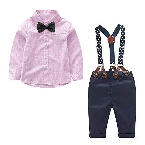 Yilaku Kleinkind Jungen Bekleidungsset 4-Teiliges Gentleman Outfit Set Kinder Langarm Hemd + Hose mit Fliege...