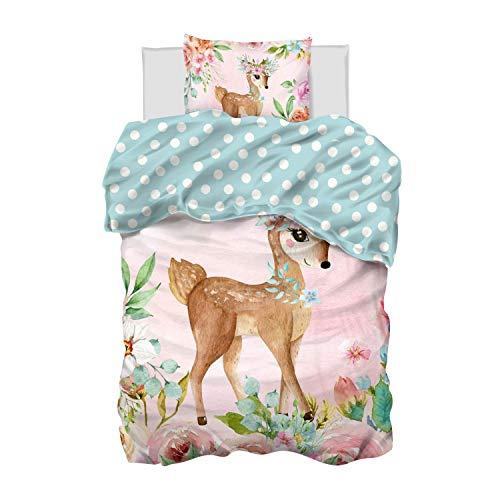 Aminata Kids Bettwäsche 135 x 200 Mädchen Jugendliche Baumwolle Kinder REH-Kitz Tier-Motiv rosa - mit Blumen...