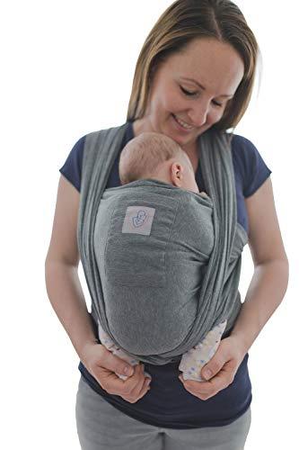Babytragetuch mit Vordertasche inkl. Baby Wrap Carrier Tasche und Anleitung - langes elastisches Tragetuch...